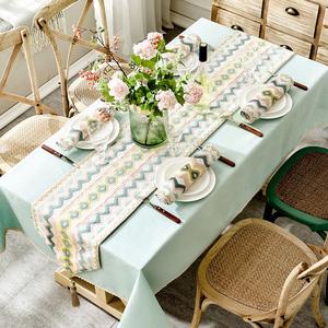 北歐ins風桌布茶幾餐桌布藝美式輕奢純色簡約電視柜棉麻桌旗套裝