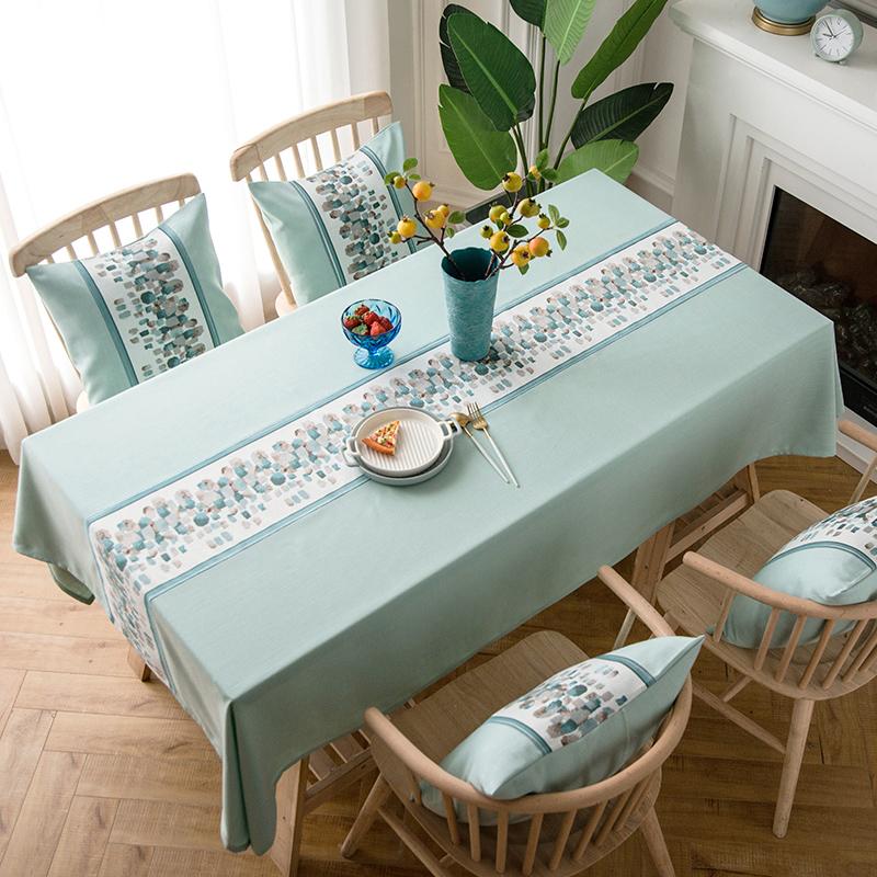 热销50件不包邮北欧棉麻小清新蓝色餐桌布艺桌布