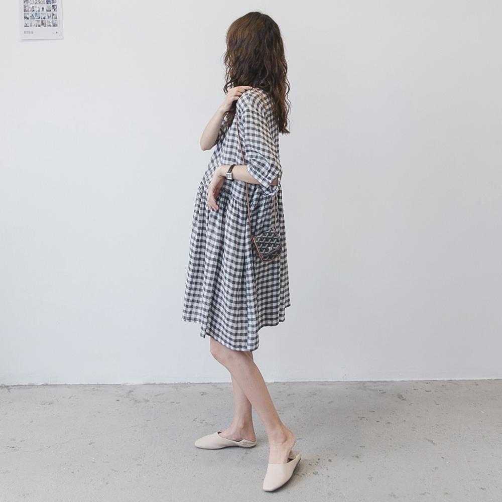 孕妇连衣裙夏装宽松大码格子显瘦棉麻衬衫裙韩国时尚外出可哺乳裙图片