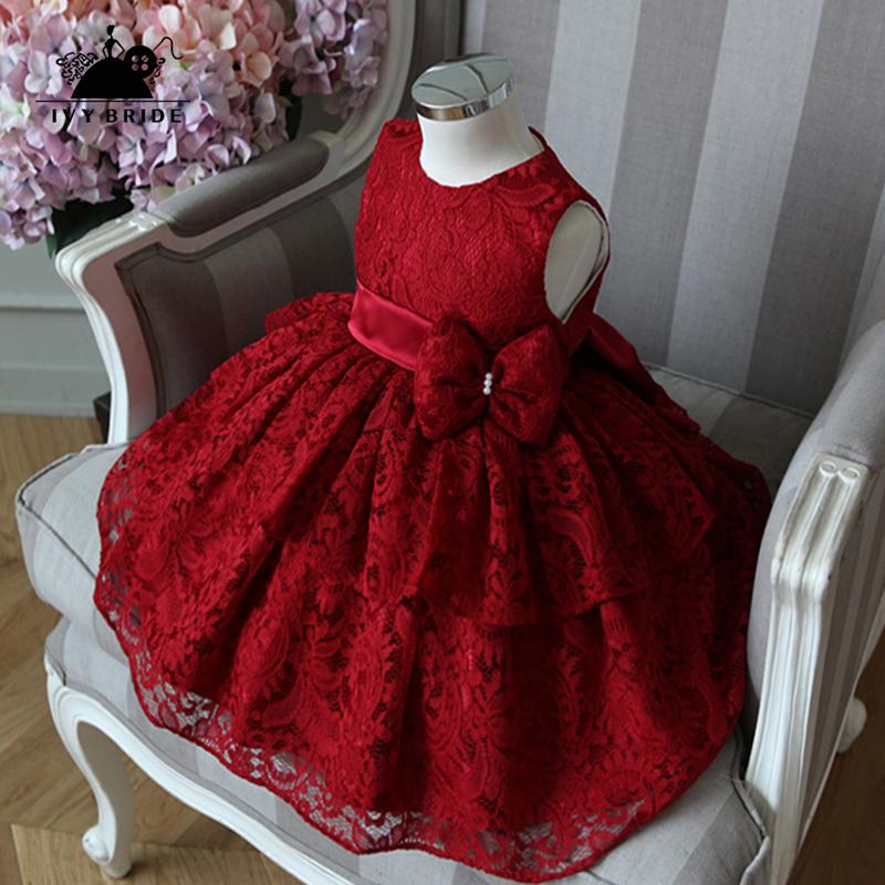 女冬公主裙蓬蓬裙儿童红色晚礼服