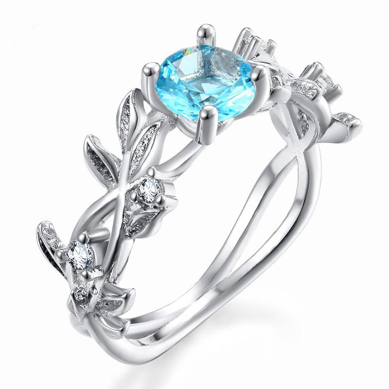 欧美爆款满天星微镶海蓝宝石树枝幸运花藤叶戒指环宴会婚礼手配饰