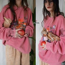 韩国chic鬼马系少女垮垮洗水粉加绒涂鸦卫衣灯芯绒阔腿裤套装