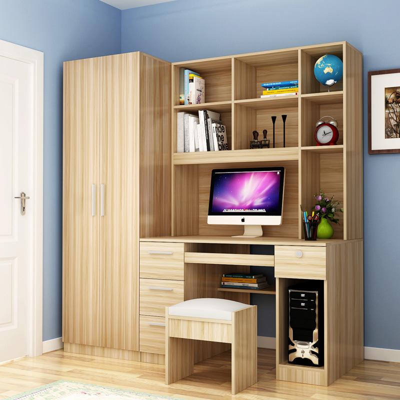 Компьютерный стол с одеждой кабинет книжный шкаф сочетание ребенок изучение сиамский письменный стол кабинет книжная полка запись тайвань один пальто кабинет