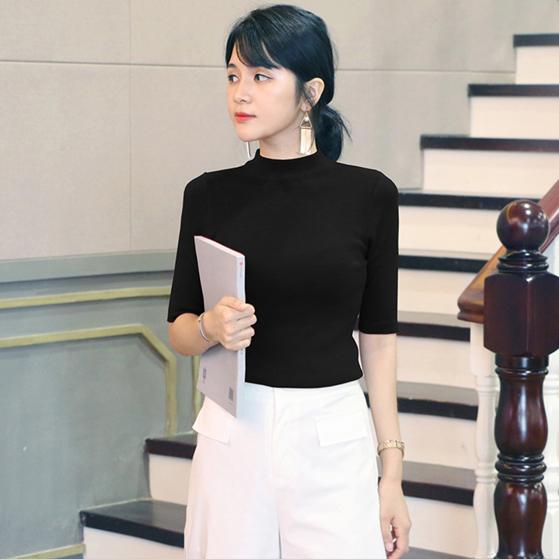 New 2021 autumn medium sleeve knitted bottomed sweater for women