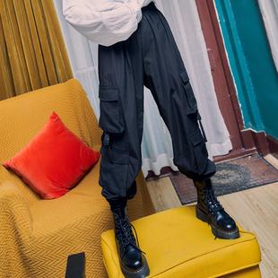 黑色工装裤女夏季薄款显瘦高腰小个子垂感束脚运动裤子新款ins潮