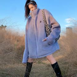桥花雾霾蓝色毛呢外套女中款小个子可爱毛绒大衣上衣bf风秋冬季长