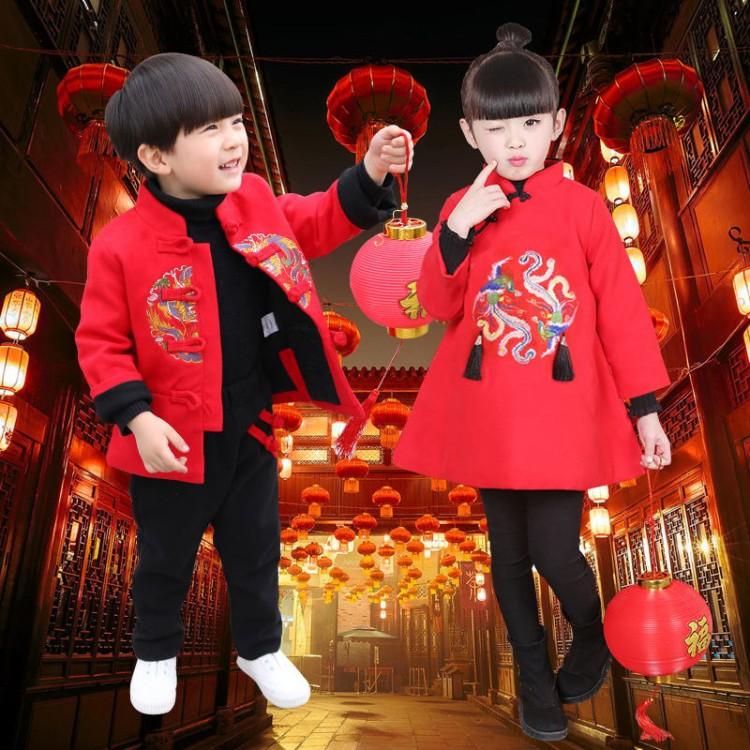 唐装儿童复古旗袍裙男女童冬装加厚盘扣拜年服龙凤呈祥呢子套装红