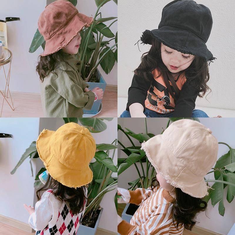 亲子毛边布艺ins同款儿童韩版女童帽子女宝宝渔夫帽遮阳帽潮盆帽