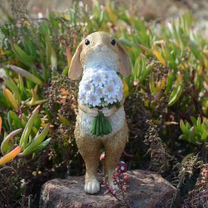 创意可爱卡通小兔子摆件盆栽家居装饰品送女生朋友生日礼物新年