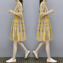 连衣裙女2020夏季新款宽松大码显瘦中长款时尚格子雪纺a字娃娃裙