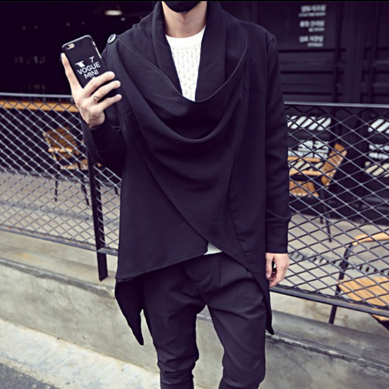 Spring and autumn windbreaker thin fashion cardigan mens medium long dark Cape hip hop sweater mens cape coat