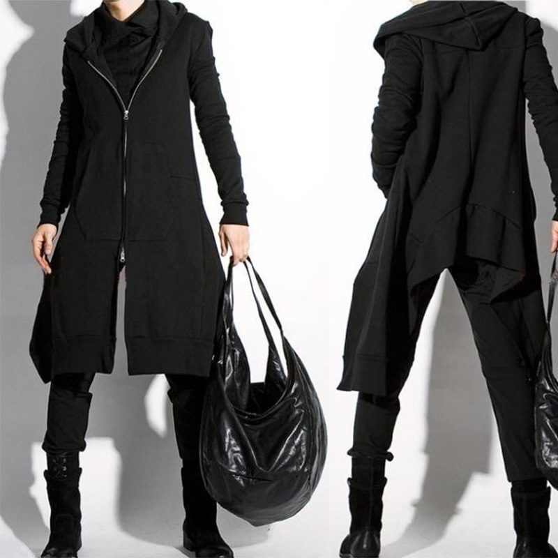 Spring and autumn dark mens wear large medium length Gothic Punk Cape hairdressers Hoodie Jacket