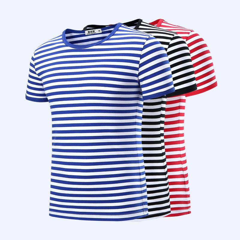 海魂衫男短袖t恤夏季海军衫情侣亲子装圆领修身蓝白条纹水手服t恤