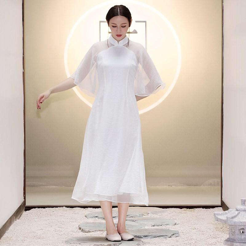夏季茶服旗袍2018念江南中国风女装禅意茶服改良旗袍中长款连衣裙