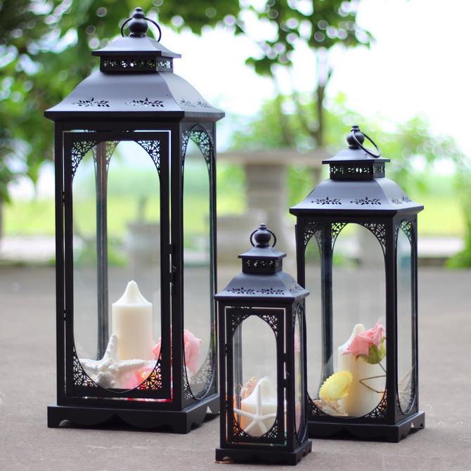 防风落地马灯玻璃灯笼庭院家居婚庆路引风灯蜡台 铁艺烛台摆件欧式