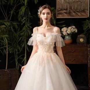 主婚紗2020新款新娘森系氣質一字肩簡約法式超仙顯瘦出門紗輕紗裙