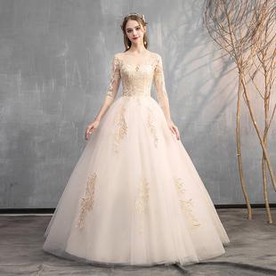 輕婚紗2020新款氣質新娘一字肩長袖女森系簡約法式顯瘦主出門紗裙