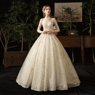 主婚紗2020新款新娘顯瘦女拖尾法式超仙星空夢幻森系齊地出門紗輕