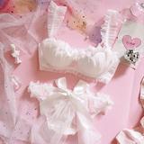 日系少女花嫁新娘白色花瓣草莓蕾丝半杯聚拢有钢圈文胸套装内衣