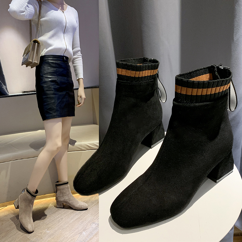 2019 new Mid Heel nude boots net red boots childrens super hot Korean autumn and winter shoes thin boots autumn small heel short boots