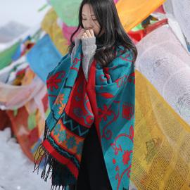 波西米亚开叉保暖披肩两用加厚尼泊尔民族风斗篷披肩围巾女秋冬季图片