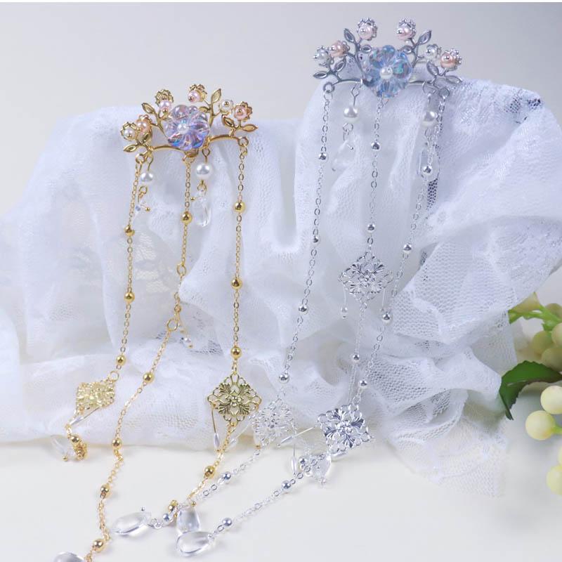 10月12日最新优惠原创手工古风头饰七彩琉璃珍珠流苏发夹汉服发饰中国风饰品