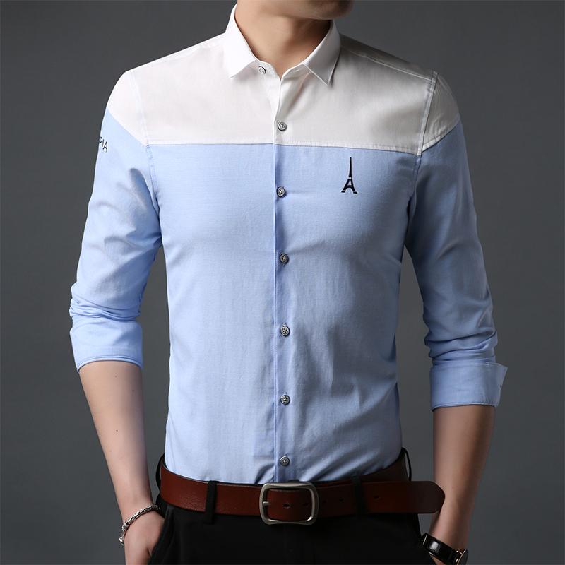 路之谐春秋纯棉经典男士衬衫长袖