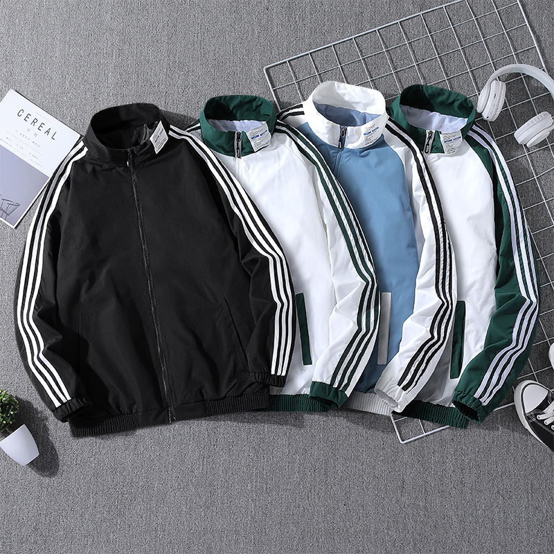 2021 spring new mens coat trend loose short windbreaker youth spring and autumn standing collar sports jacket thin
