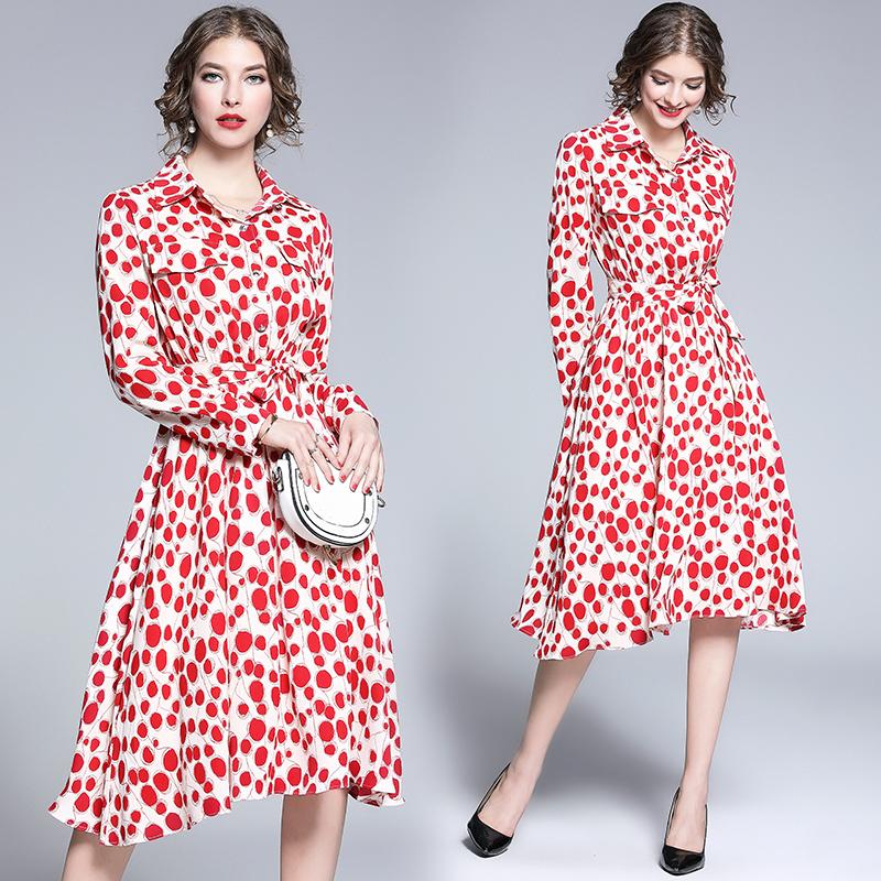 現貨!2019新款法式優雅時髦減齡翻領系帶紅色印花連衣裙