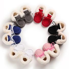 0-1岁多女婴儿保暖棉靴子软底男宝宝加厚绒毛学步鞋中筒系带棉鞋