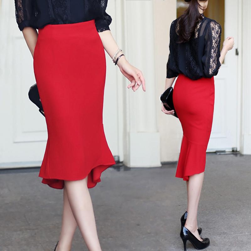 高腰鱼尾裙红色半身裙女秋季燕尾裙一步裙中长款黑色裙子夏包臀裙