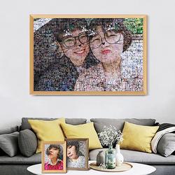 马赛克拼图效果多张照片合成一张相片墙定制礼物千图成像实木相框