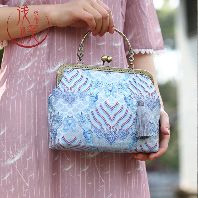 Handmade Bag original silk brocade retro cheongsam with bag portable shoulder bag Chinese style tea dress womens bag