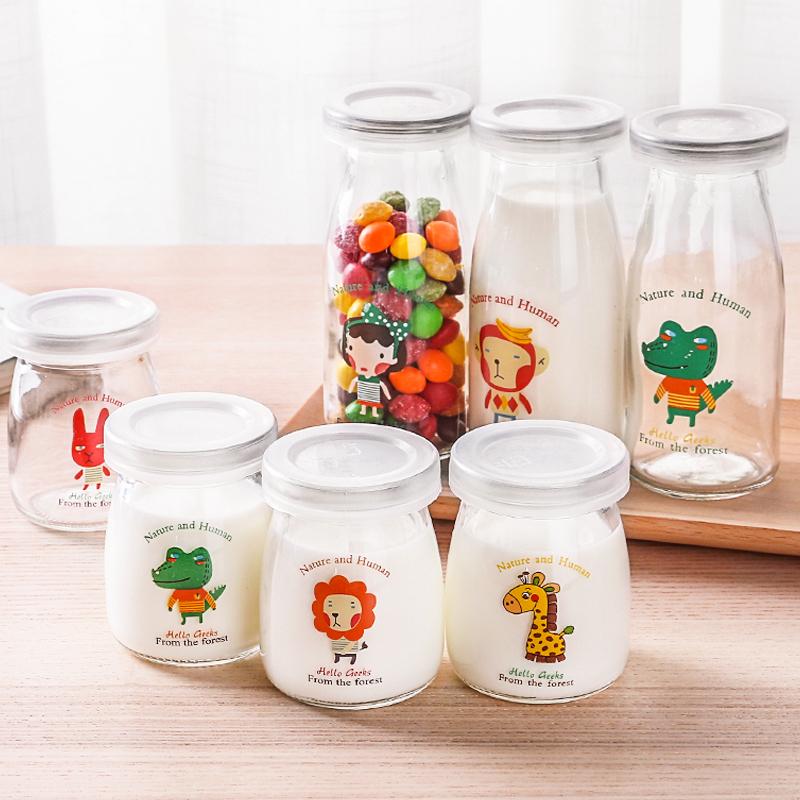 创意布丁杯果冻慕斯杯耐高温玻璃瓶带盖自制酸奶杯牛奶瓶烘焙工具