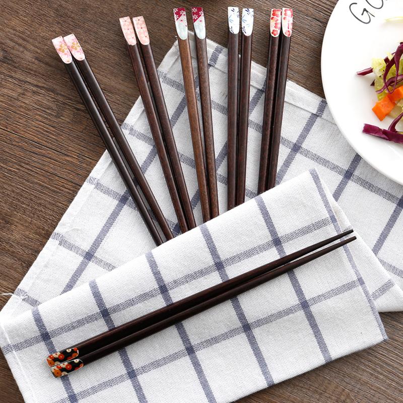 日式家用櫻花筷子廚房餐具個性實木筷子酒店飯店長筷子尖頭筷子
