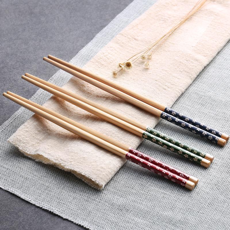 Бытовая посуда нескользящие Палочки для еды, цельная древесина, палочки для еды японской аппликации без Воск влагостойкие бамбуковые сакуры зеленые палочки для еды