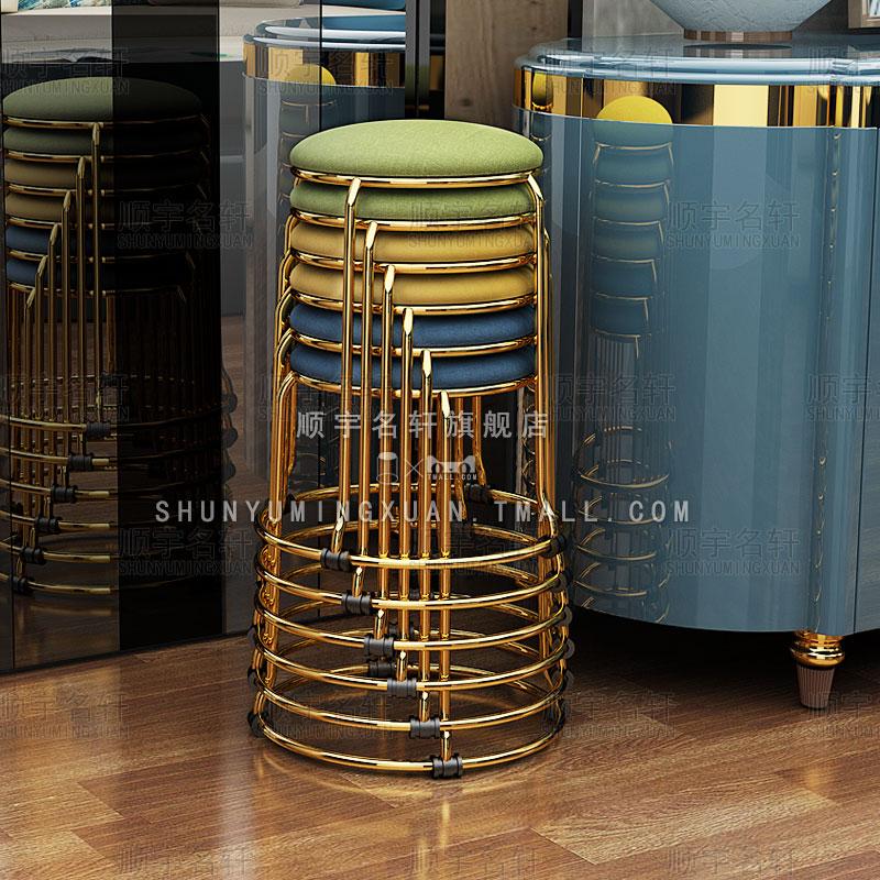 轻奢钛金色时尚创意简易凳子家用小圆凳餐桌凳折叠化妆美容办公凳