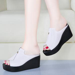 百丽朵芙联名款真皮厚底凉鞋女时尚外穿拖鞋休闲两穿女鞋松糕鞋女