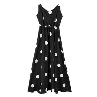 裙子女超仙森系學生氣質長裙夏季2019新款流行雪紡波點吊帶連衣裙