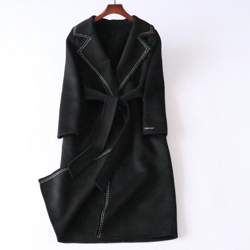 反季特价~秋冬新品女双面羊毛呢大衣小香风中长过膝系带呢子外套
