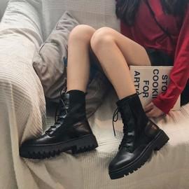 马丁靴女ins2020秋季新款鞋子网红百搭英伦风增高黑色短靴瘦瘦潮