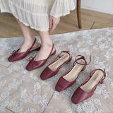 单鞋女仙女风ins网红2020春款中跟方头百搭粗跟包头时装凉鞋潮鞋