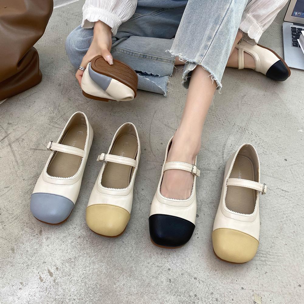 韩版女鞋2021夏拼色浅口一字带搭扣低跟玛丽珍chic单鞋芭蕾舞鞋女