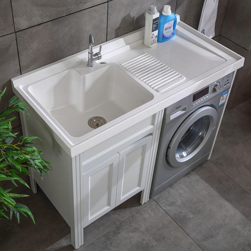 阳台太空铝洗衣机柜子石英石洗衣台池带搓衣板一体组合洗手盆定制图片