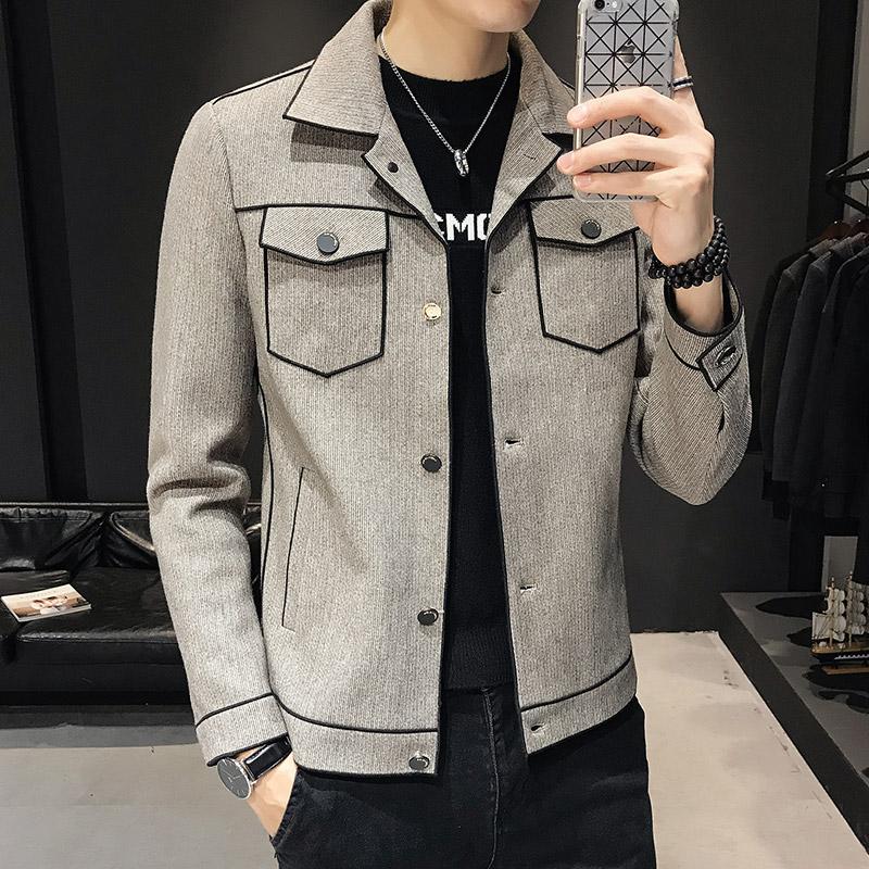 2020秋冬新款男士英伦风短款加厚毛呢夹克外套修身百搭呢子上衣潮