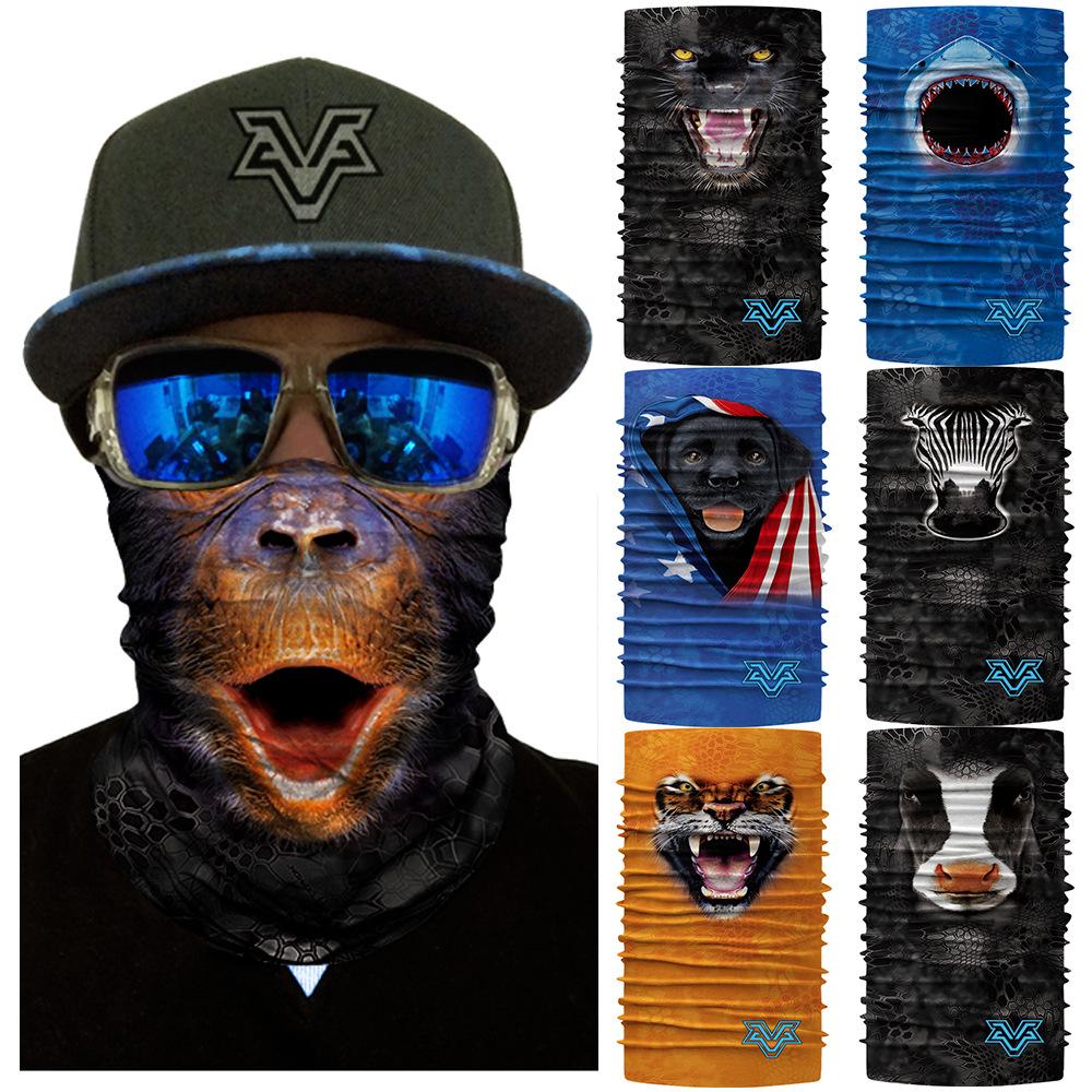 Hot 3D animal half face magic headscarf gorilla shark zebra tiger cat dog Bib Headcover