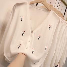 2020夏季新款刺绣冰丝V领针织开衫女百搭宽松薄款防晒空调衫外套