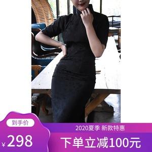 复古传统旗袍《文瑶》黑色素雅年轻款少女长款气质老上海女春
