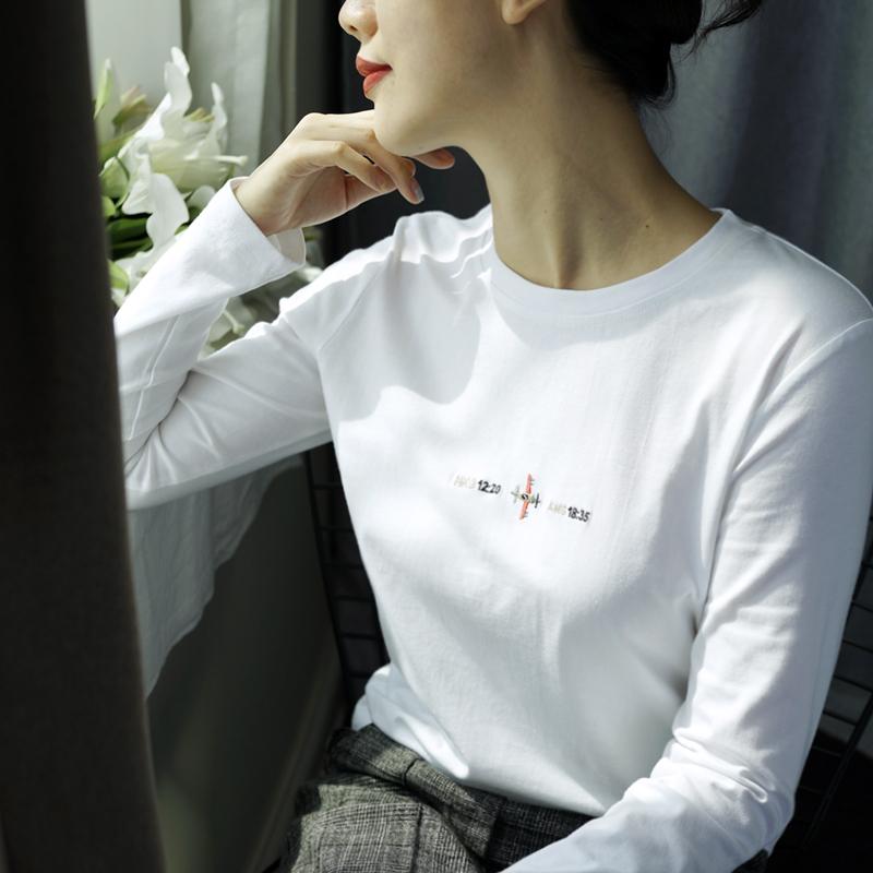 长袖打底衫刺绣字母韩版女装打底衫女春秋潮T恤时尚修身气质上衣