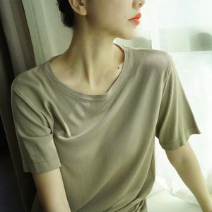 领5元券购买冰丝t恤女短袖宽松纯色针织打底衫